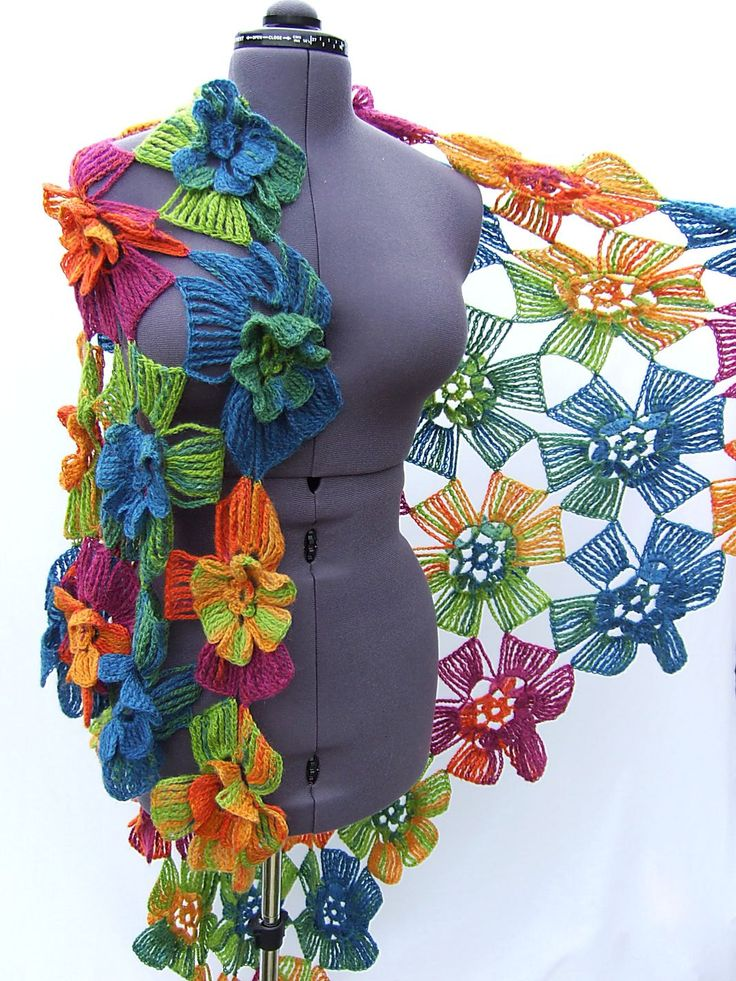 Knitted (crochet) Warm Shawl Bright Rose Orange Green Yellow Violet Blue Flowers - Free Shipping ETSY. $235.00, via Etsy.