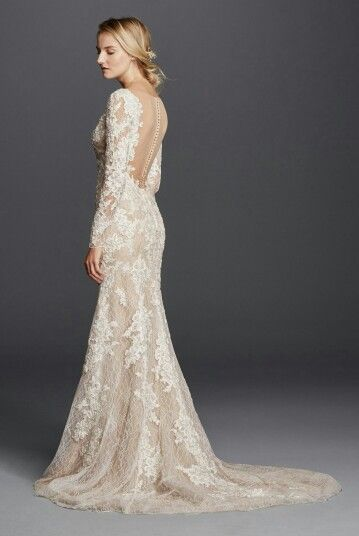 Sexy, Ivory/Nude Long Sleeve Lace/Lace Appliquéd Column/Sheath Wedding Gown With Plunging V Neckline & Court Length Train; Galina Signature for David's Bridal (Side/Back View)××××