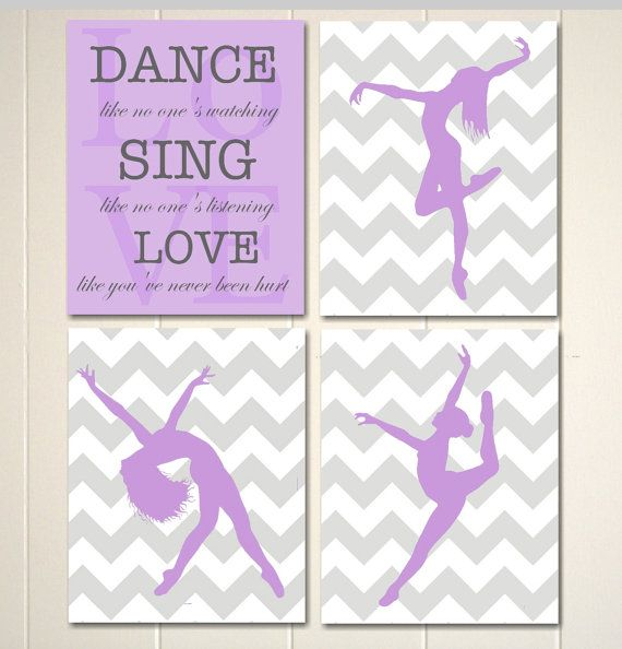 Girls room decor, hip hop art, dance art, girls wall art, dorm poster, childrens poster, chevron wall art, custom colors,  set of 4 prints on Etsy, $26.00
