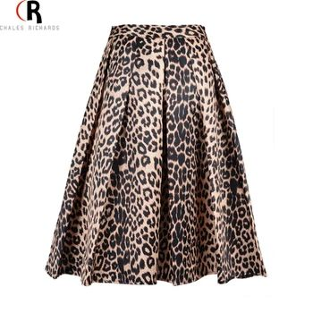 2017 Nueva Primavera Las Mujeres de Satén Estampado de Leopardo de la Alta Cintura Plisada Larga Puff Falda de Midi Tamaño S XL Grande En El Envío Libre