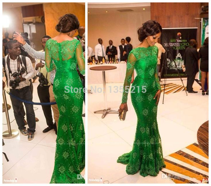 2016 новый элегантный знаменитости красной ковровой дорожке платья зеленые босоножки аппликации русалка пром платья с длинным рукавом кружева пром ну вечеринку платье