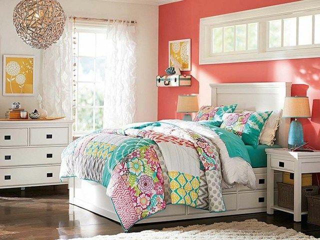 Jugendzimmer Einrichtungsideen Coral Töne Wandfarbe