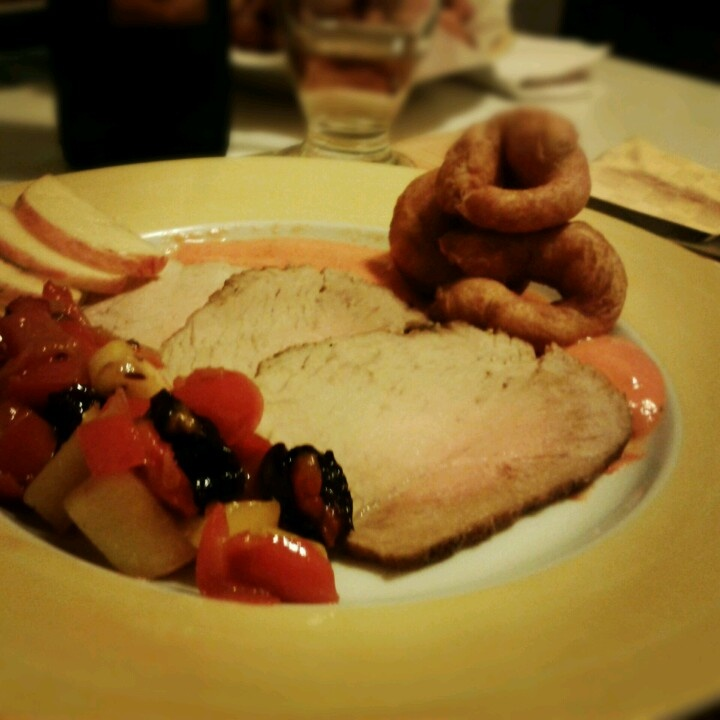 Pork Tender loin with Red Peppers, prunes and apple chutney