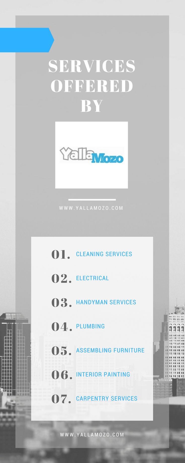 YallaMozo is an online handyman service provider that offers a wide range of handyman and housekeeping services online like carpentry services, TV Wall Mount, office cleaning services, plumbing and a lot more. Visit www.yallamozo.com to book an appointment now.
