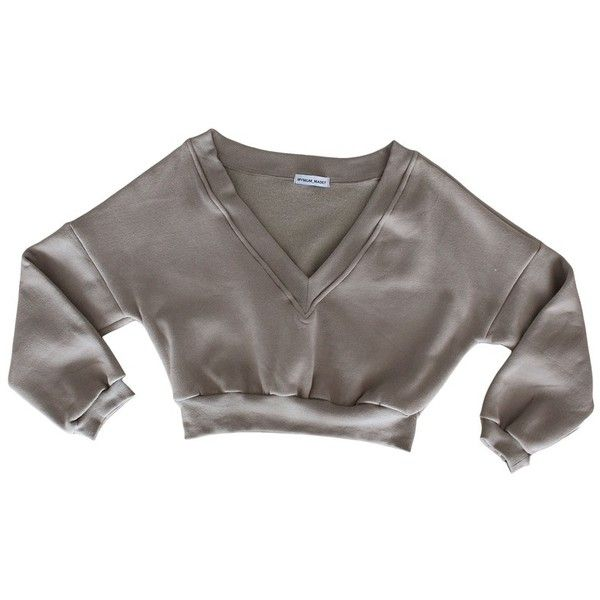 Deep V Neck Sweater (£40) ❤ liked on Polyvore featuring tops, sweaters, deep v-neck sweaters, brown top, brown sweater, low v neck tops and low v neck sweater