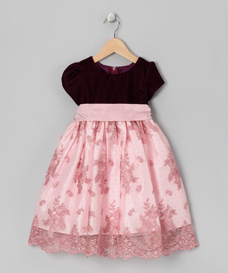 Pink Velvet Lace Overlay Dress - Infant, Toddler & Girls
