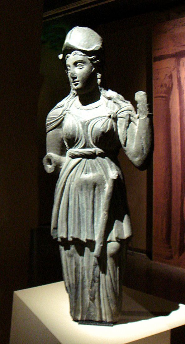 Gandharan Athena - I need to find out where this statue lives, so I can get more angles, because her garb is Pretty and I Want It.