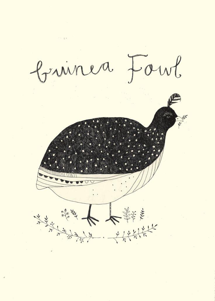 Guinea Fowl. Katt Frank illustration.