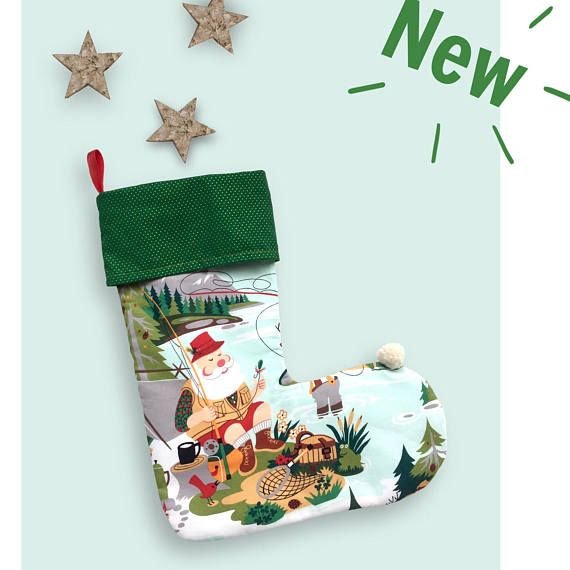 Christmas stocking. Alexander Henry fabric. Santa Clauss and