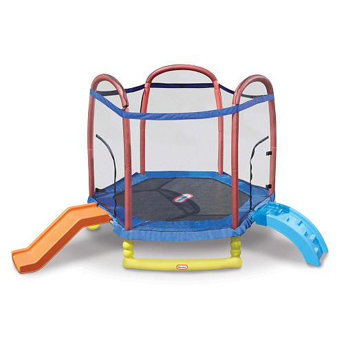 http://www.specialtytoystores.com/category/little-tikes/ Little Tikes 7 Feet Climb 'n Slide Trampoline with Enclosure