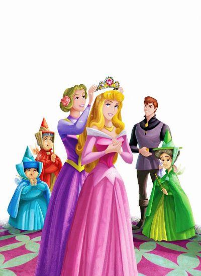 *LEFT-RIGHT: Merryweather, Flora, Prince Phillip, Flora, Queen Leah & Princess Aurors ~ Sleeping Beauty, 1959