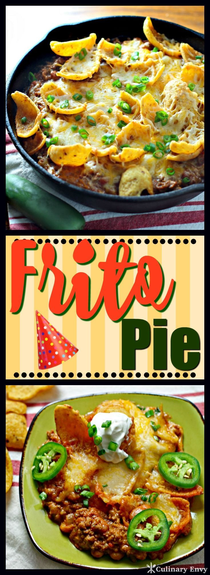 """This Frito Pie dinner recipe is crunchy, cheesy and extra easy with delicious favorites like ground beef, chorizo, onion and pinto beans. This """"anytime of the week"""" casserole will have everyone begging for seconds! Click to read more!"""