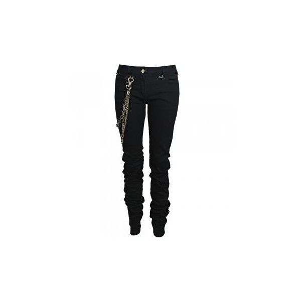 Karl Lagerfeld Paris Low Rise Jeans With Metal Chains ($580) ❤ liked on Polyvore