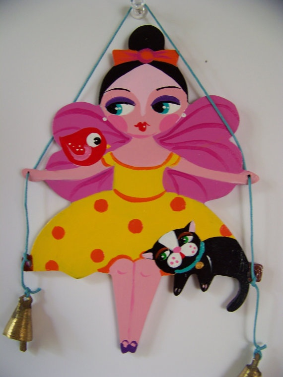 "Original Folk Art ""Angel Swinging with her Cat and Bird"" Ornament"
