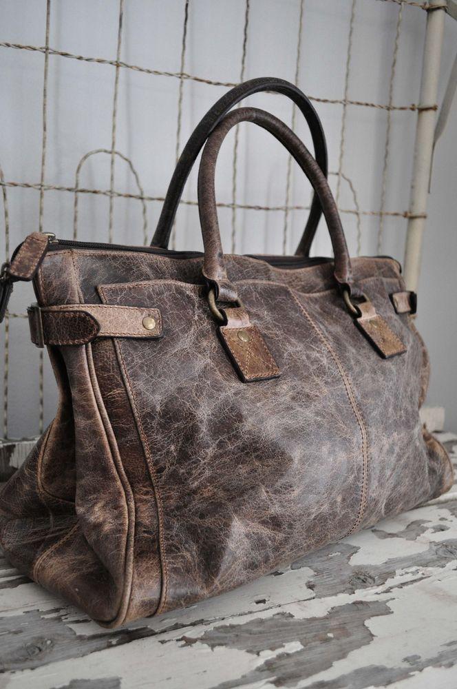 Distressed Leather handbag Vintage Grey deborah Shoulder frye satchel Bag NWT