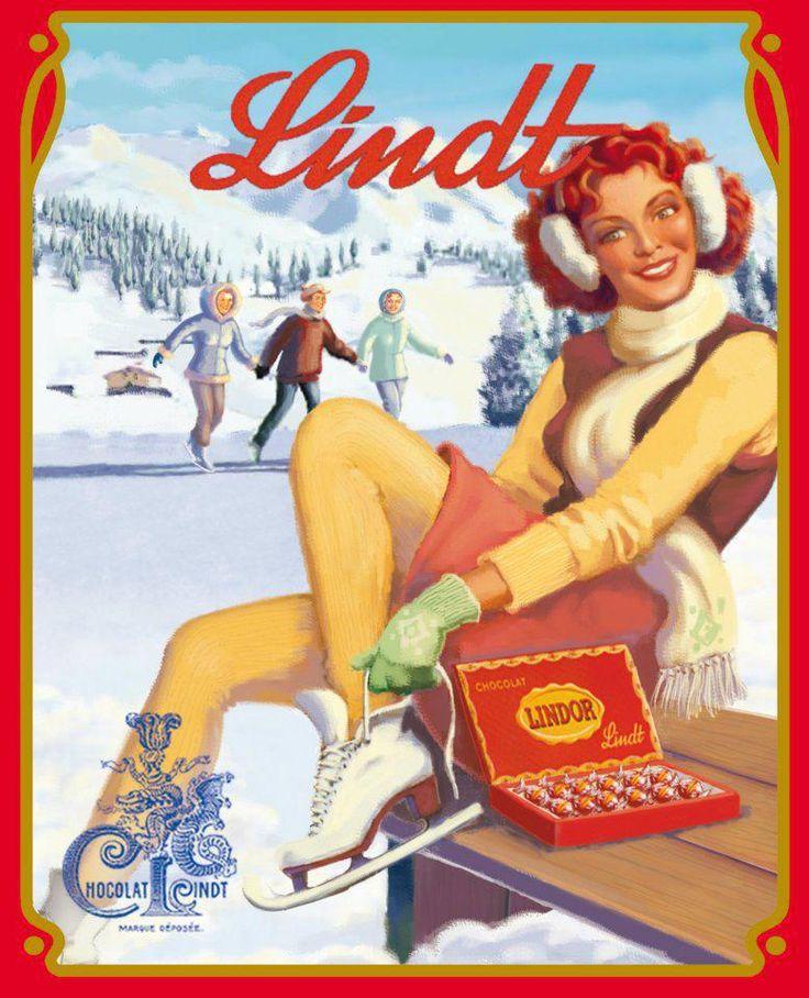 Lindt chocolate Switzerland vintage ice skating winter sports