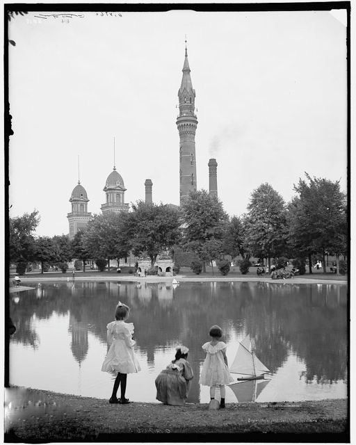 Victorian Children Summer Lake Pond Girls White Dresses Sailboats Detroit Waterworks Park Edwardian From Vintage Photography Photo Print