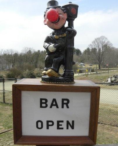 "Vintage ""Bar Open"" Hobo Clown W Red Nose Light Lamp Works"