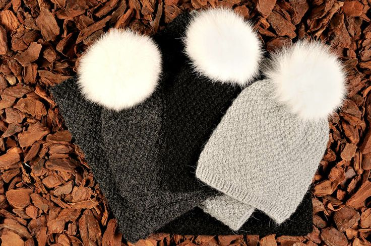 Knitted beanies in charcoal gray, black and grey alpaca wool with fur tassels. Natural materials and handmade in Denmark.