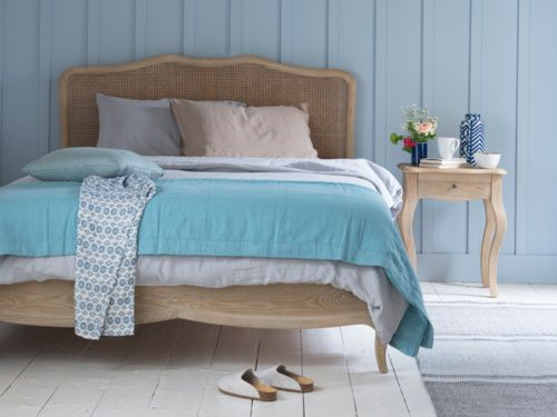 Our Margot weathered oak bed is inspired by a beautiful French bed we fell for in Provence. The lovely rattan headboard…