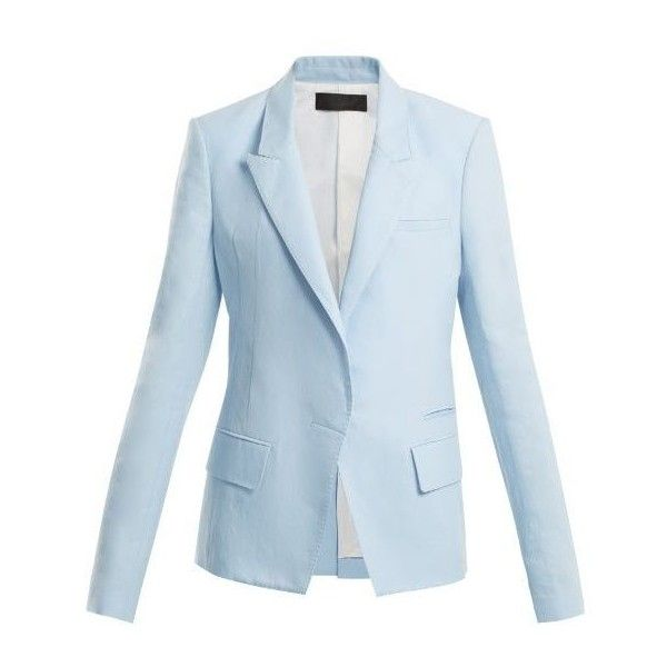 Haider Ackermann Peak-lapel cotton-blend blazer (€1.845) ❤ liked on Polyvore featuring outerwear, jackets, blazers, light blue, light blue jacket, blazer jacket, blue blazers, single vent jacket and tailored jacket