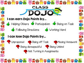 Print this poster or have it blown up!This poster describes for students ways that hey can earn points and lose point on Class Dojo.I kept the points generic so they would be good for every classroom.Ways to earn points:Helping others, participating, being on task, working hard, following directionsWays to lose points:Unprepared, being off task, missing homework, being disrespectful, not turning in assignments, being unkindThe positive points are illustrated with a green thumbs up next to…