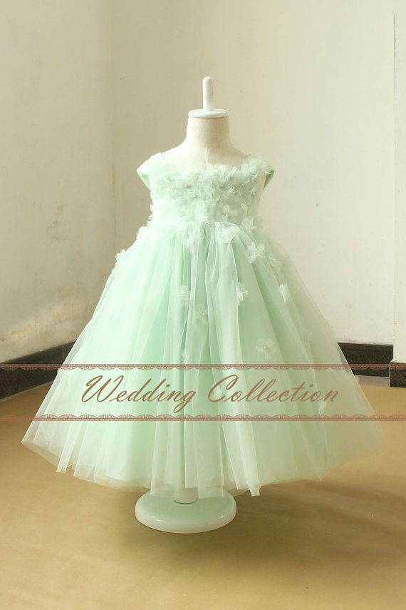 Mint Flower Girl Dress With Handmade Flowers by Weddingcollection- $59. Dress for Una