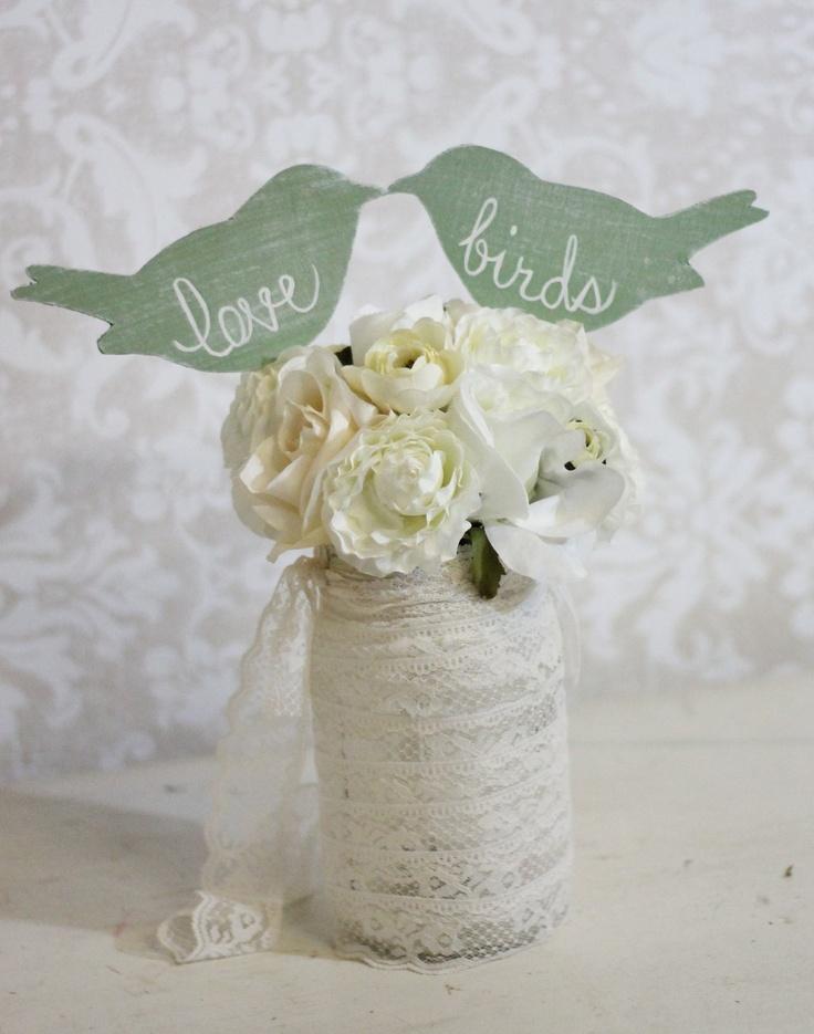 Wedding Cake Topper Love Birds Shabby Chic Wedding Decor (item P106031). $28.50, via Etsy.