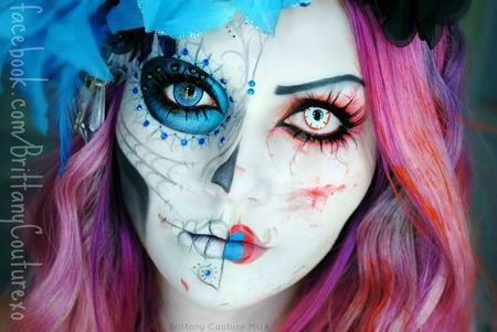 Unique sugar skull makeup for a Dia De Los Muertos costume