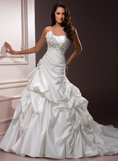 A-line Strapless Chapel Train Charming Taffeta with hand made flower wedding dress