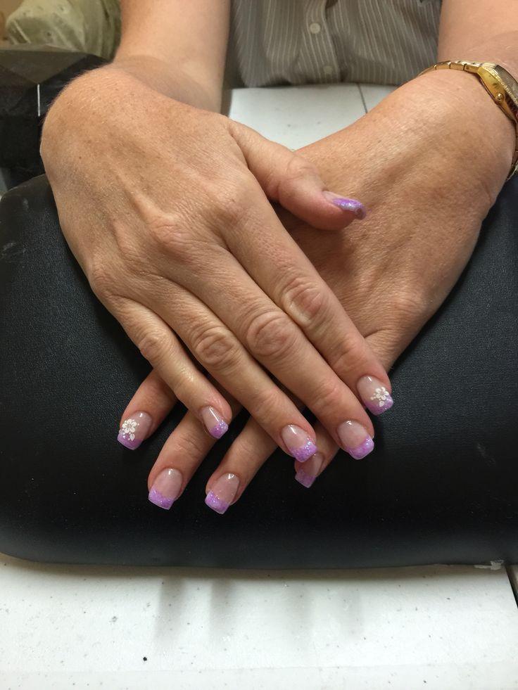 Purple glitter French