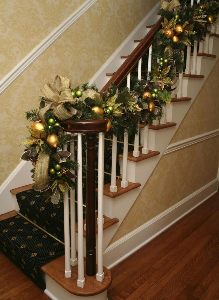 Gold Christmas Ornaments Christmas Accessories Staircase Ideas