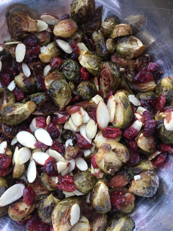 Honey-Roasted Brussel Sprouts (I can't believe how amazing these are!)  -  veggies, honey, fruit, nuts.  brussel sprouts, cranberries, almonds.  sweet, tart, a bit of crunch.  pretty healthy, a good side dish for holidays or anytime.  want!   lj