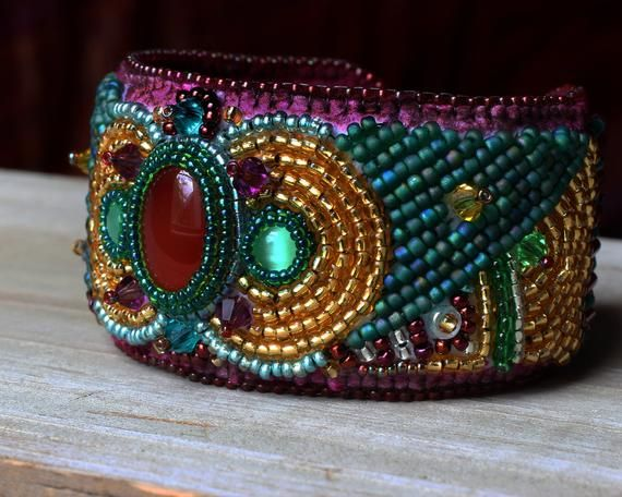 Leather Hand Embroidered Cuff Bracelet
