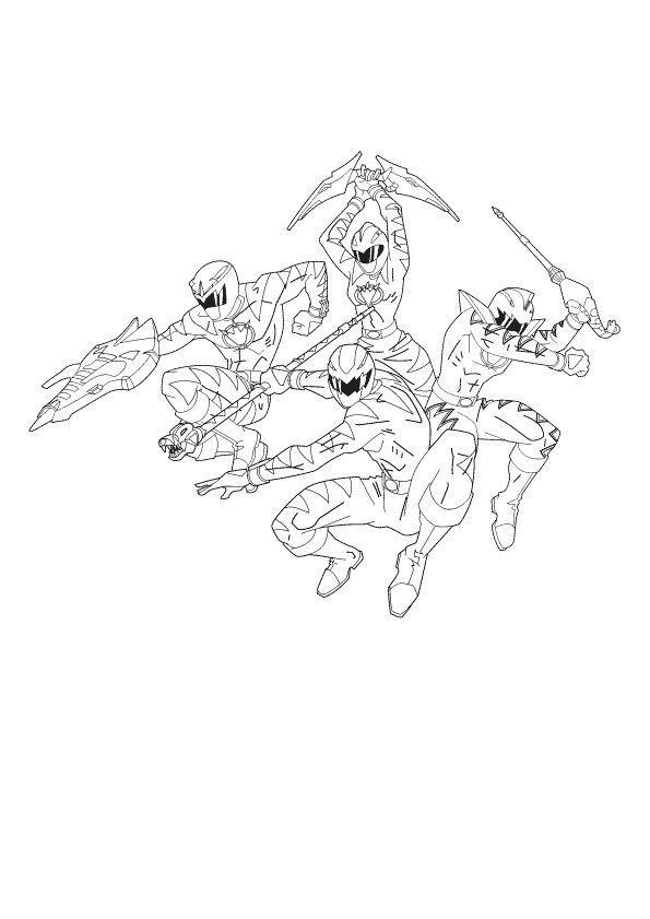 a colorier un super poster des 4 power rangers prt combattre les mchants - Power Rangers Dino Coloring Pages