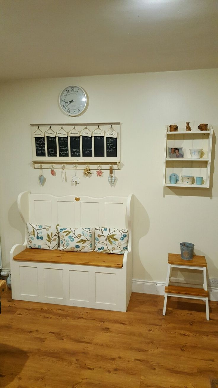 I used everlong paint in French Cream and wood stain to paint this bench shelf and stool.