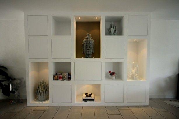 Wandkast op maat. kan evt een tv ingebouwd worden of als boekenkast. Deze kast is gemaakt door MELKA Interieurbouw
