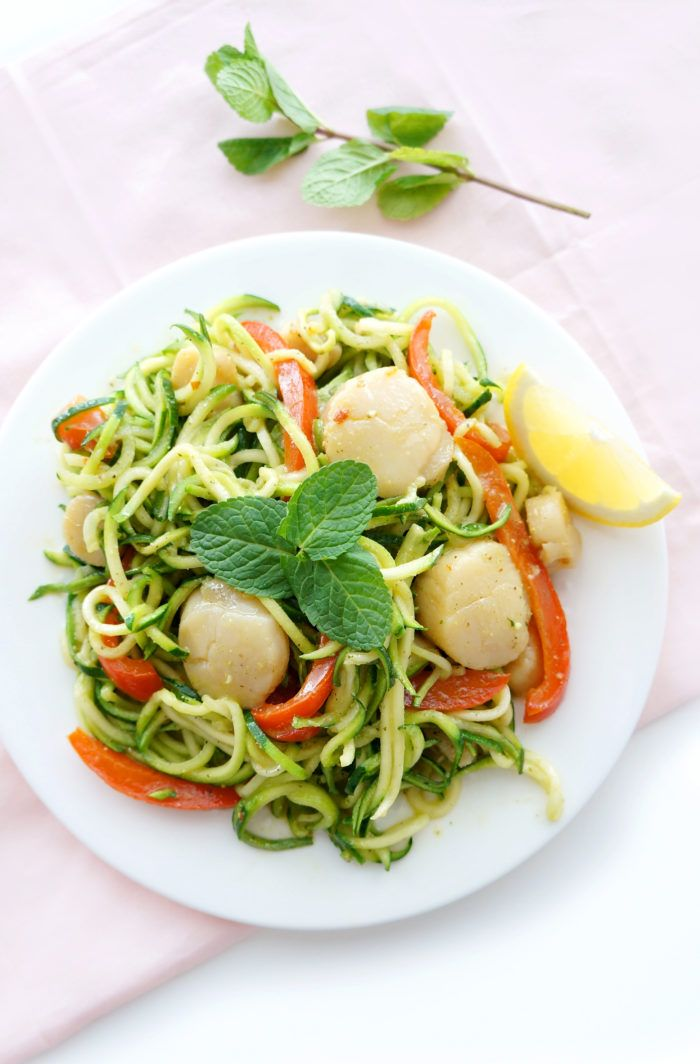 Scallops and zucchini noodles with pistachio and mint pesto dish | Super easy to make, but tastes like it took hours to prepare! It's light, yet still very filling and packed full of flavour. Low carb and gluten-free | Haute & Healthy Living
