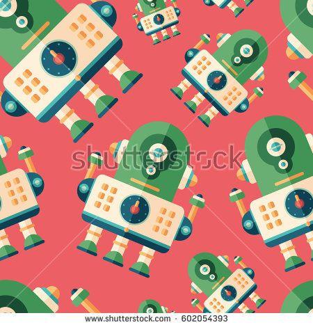 Robot engineer flat icon seamless pattern. #robots #robotics #vectorpattern #patterndesign #seamlesspattern