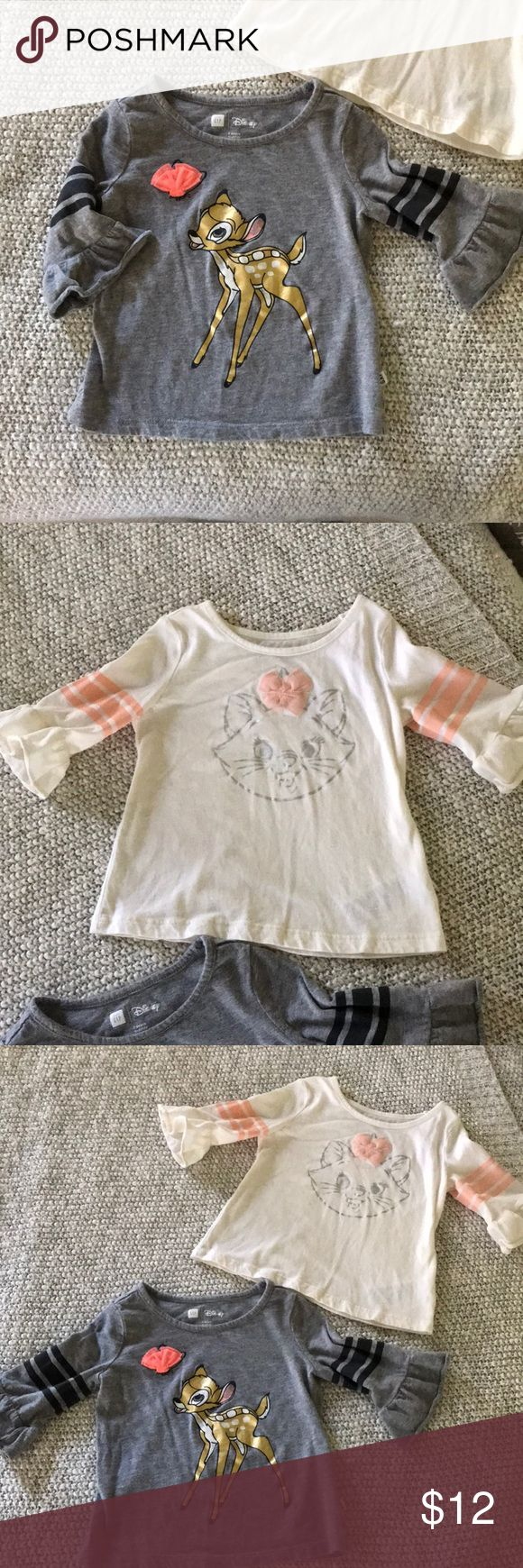 Disney Baby Gap toddler tops. Disney Baby Gap toddler tops. Bambi and The Aristocrats.  Worn a few times/ perfect condition. GAP Shirts & Tops