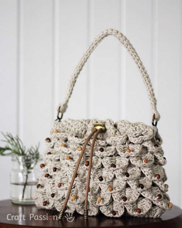 crochet pattern drawstring crocodile stitch purse ~ free pattern