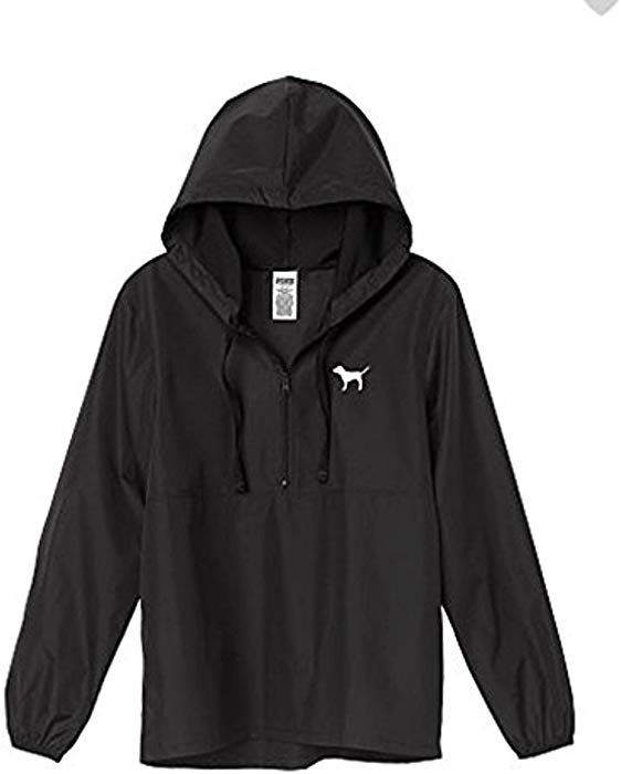 972ad0bccf Amazon.com  Victoria s Secret Pink Anorak Windbreaker Jacket Quarter-Zip  Black X-Small Small XS S  Clothing