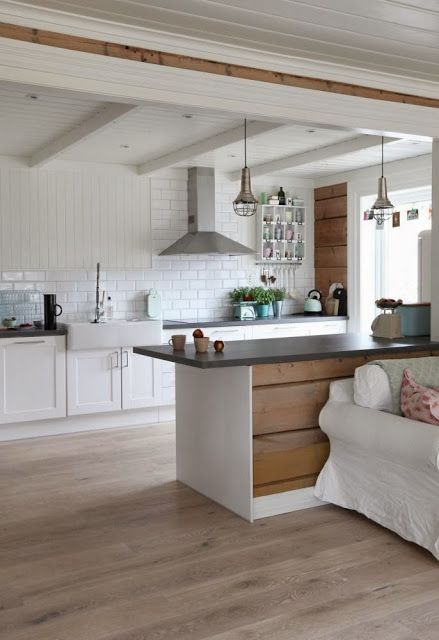 White With Wood Kitchen In Open Space Living Room