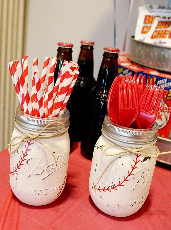 Painted Mason Jars. Baseball Mason Jar. Party by ChalkandPatina