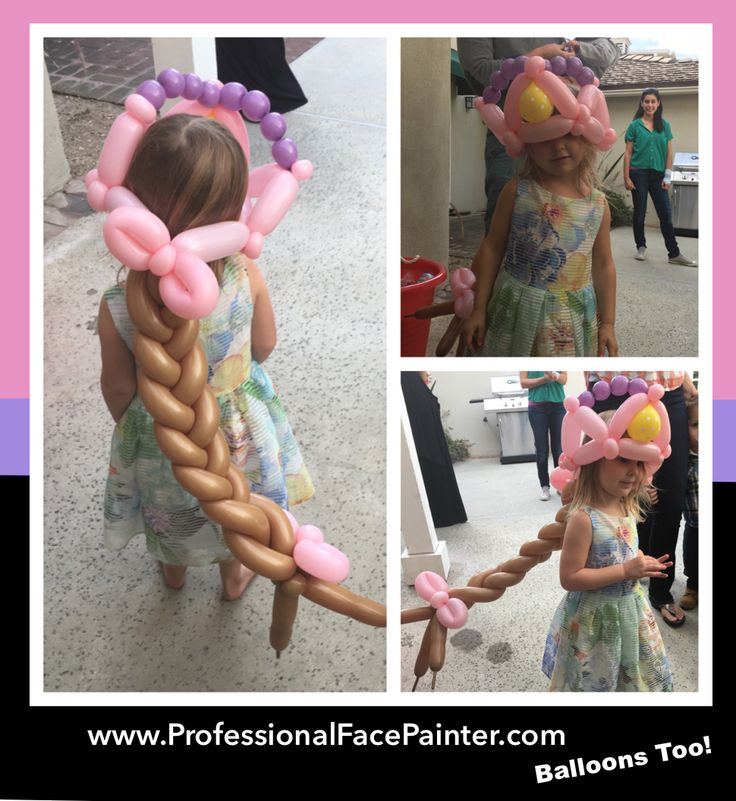 A princess balloon crown for this little princess. Complete with long braided hair and accessories. #Balloons #ProfessionalBalloonTwister #OrangeCounty #Irvine