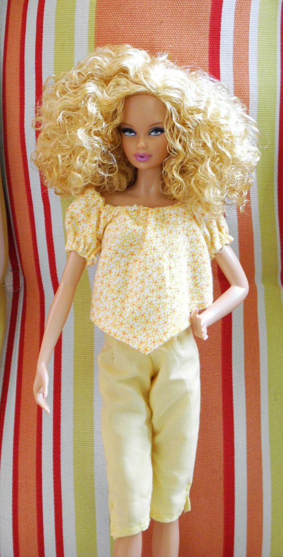 Barbie Doll Clothes, handmade fashion doll clothes.  Summer outfit, yellow crops with matching flowered top.