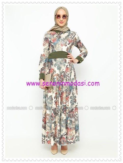 Tozlu Giyim yeşil çiçek desenli elbise