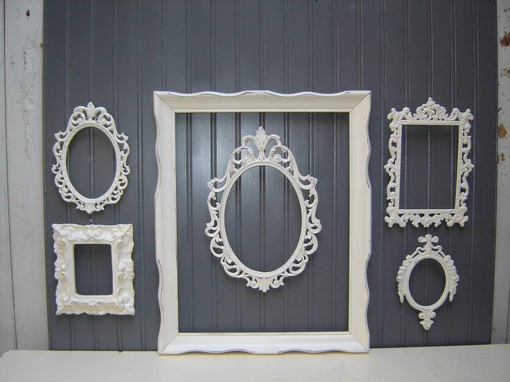 ornate picture frame collection 6 french country romantic victorian cottage white upcycled frames