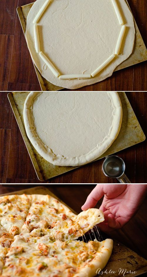 it couldn't be easier to make stuffed crust pizza using a great dough recipe and some mozzarella sticks
