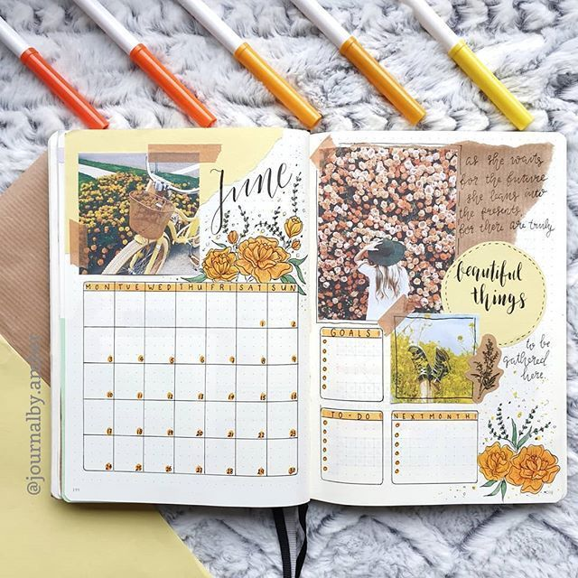 June cover and calender! ☀ I decided to do an orange/yellowish theme, because …